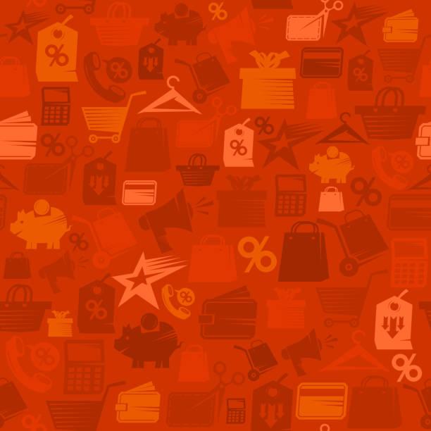 roter verkauf vektormuster mit einkaufssymbolen - standlautsprecher stock-grafiken, -clipart, -cartoons und -symbole