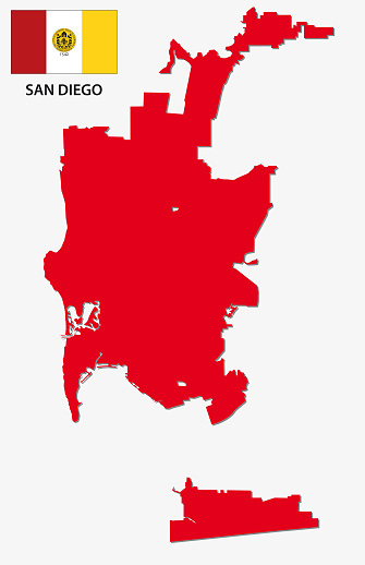 Red san diego map with flag