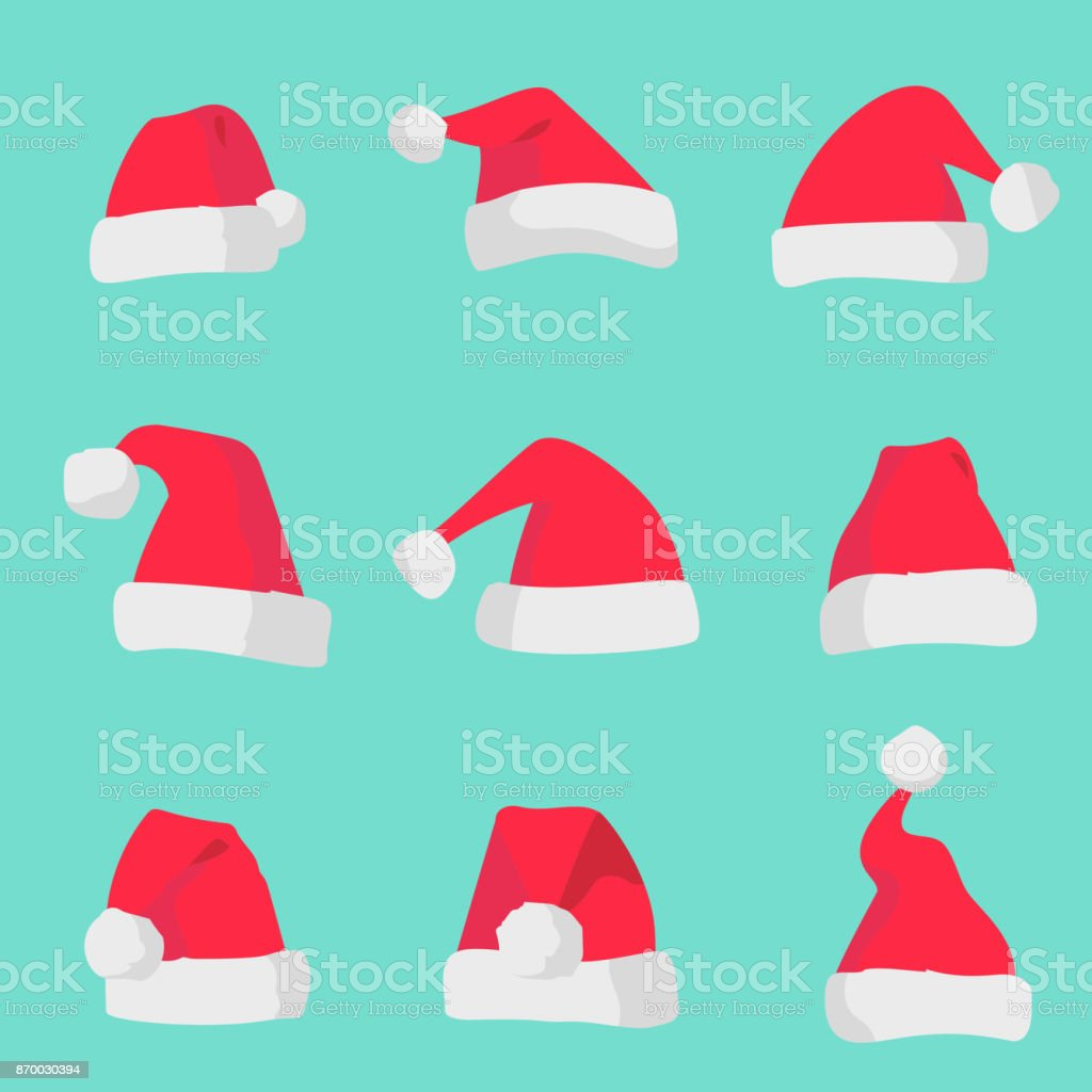 Red Santa Claus hats isolated on colorful background. Symbol of Christmas holiday. Vector santa hat set. vector art illustration