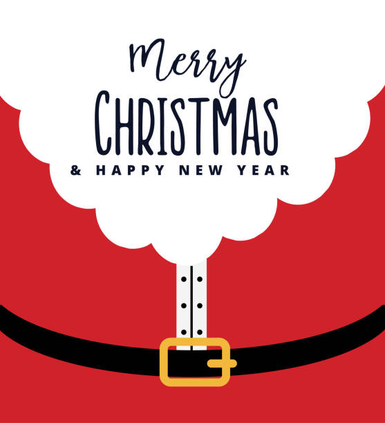 ilustrações de stock, clip art, desenhos animados e ícones de red santa claus suit, black belt with  buckle, white beard, concept for christmas greeting or invitation card. merry christmas and happy new year lettering. - santa claus