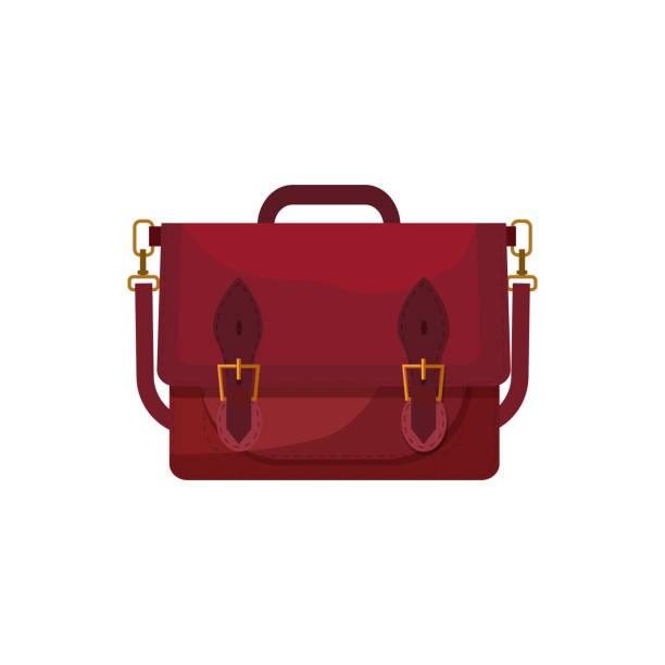 roter ranzen tasche abbildung - lederranzen stock-grafiken, -clipart, -cartoons und -symbole