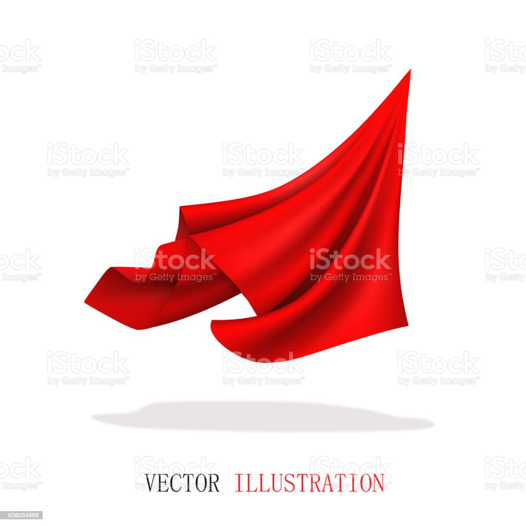 Red Satin Fabric Flying. Abstract Dynamic Cloth. vector art illustration