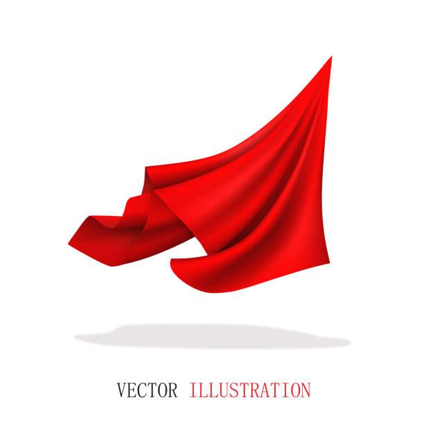 bildbanksillustrationer, clip art samt tecknat material och ikoner med röd satin tyg flygande. abstrakta dynamiska trasa. - red silk