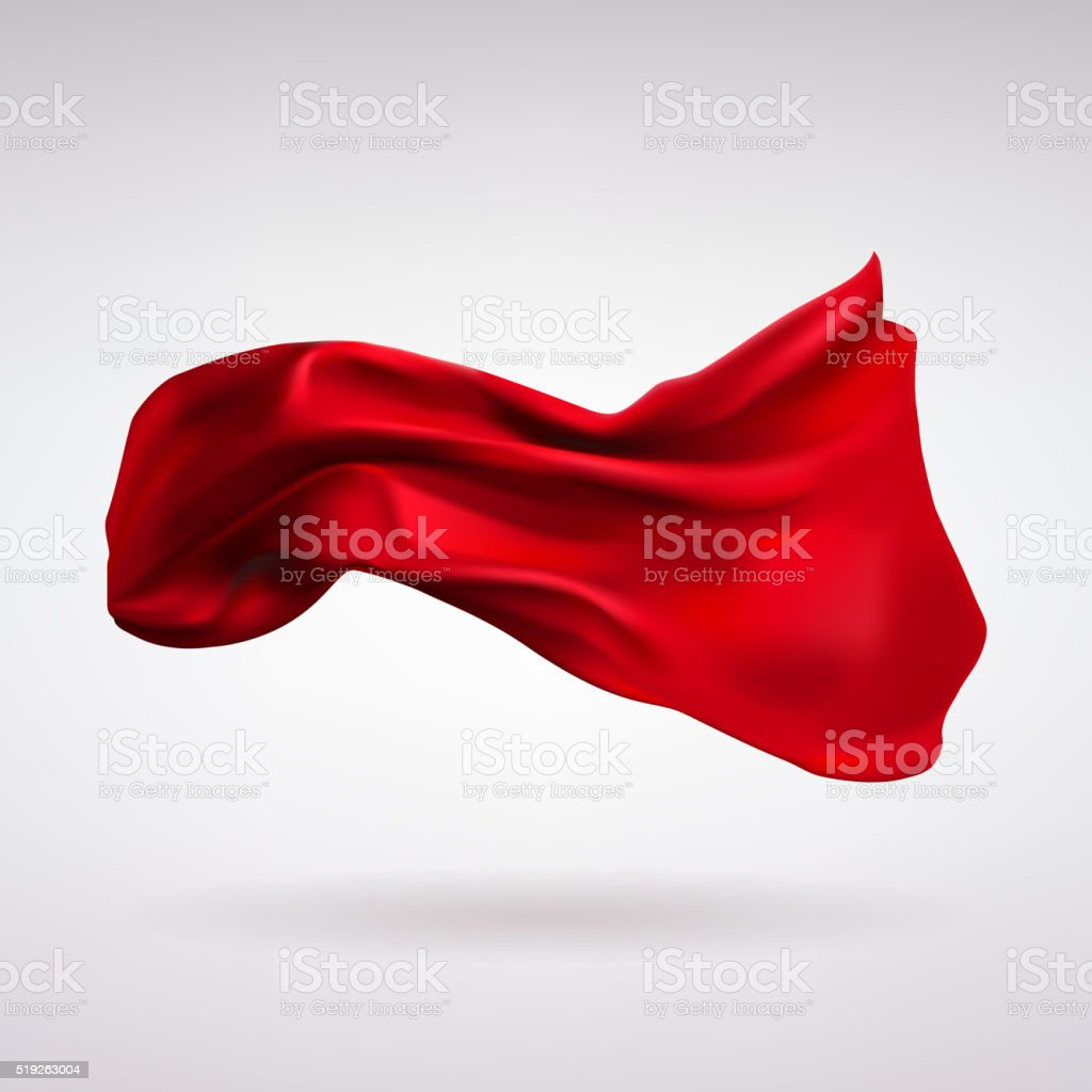 Red Satin Fabric Flying in the Wind vector art illustration