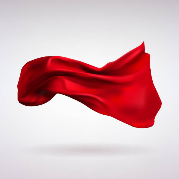 red satin fabric flying in the wind - flowing stock illustrations, clip art, cartoons, & icons