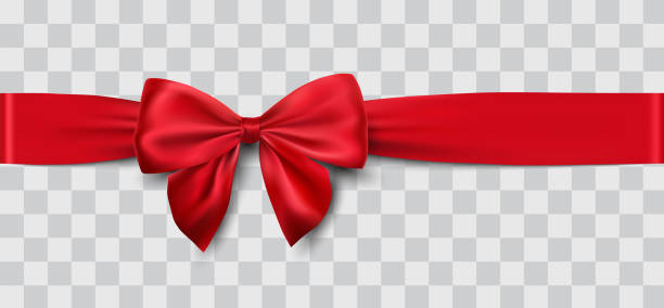 red satin ribbon and bow vector art illustration