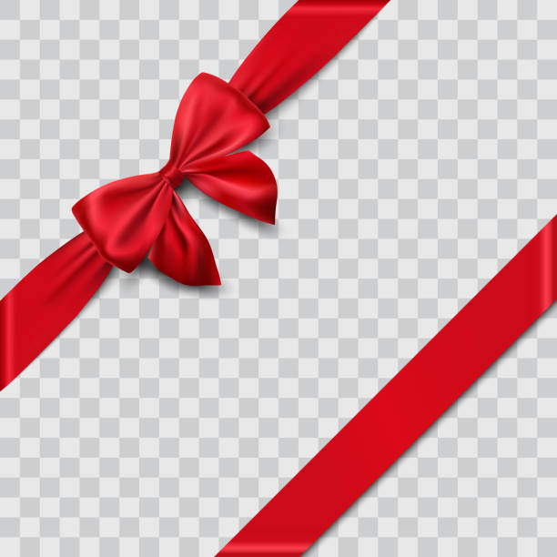 red satin ribbon and bow - papier do pakowania stock illustrations