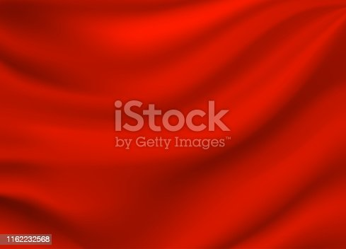 Red satin silk background. Vector illustration. EPS10