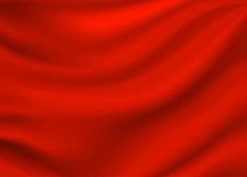 Red Satin Silk Background Vector — стоковая векторная графика и другие изображения на тему Абстрактный