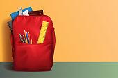 Red school backpack in vector