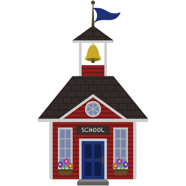 Red Schoolhouse Illustration Red schoolhouse with blue door, bell, and flag isolated on white background schoolhouse stock illustrations
