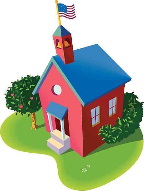 Red Schoolhouse Vector spot illustration of a bright red school house with a blue roof and nearby apple tree in the early morning. School has an American flag flying over its bell tower. schoolhouse stock illustrations