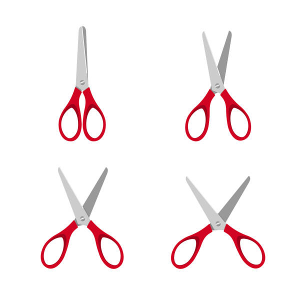 Red scissors set on a white background Red scissors set on a white background. Vector illustration scissors stock illustrations