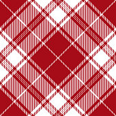 Red and white Scottish tartan plaid seamless diagonal textile pattern.