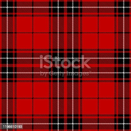 Red, black and white Scottish tartan plaid seamless textile pattern background.