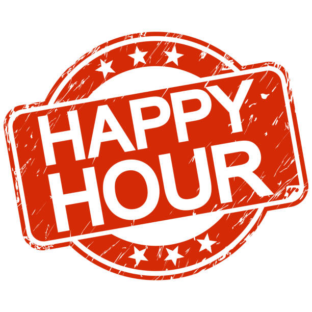 red scratched stamp happy hour - happy hour stock illustrations, clip art, cartoons, & icons