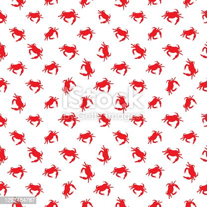istock Red Sea Crabs Seamless Pattern 1297484787