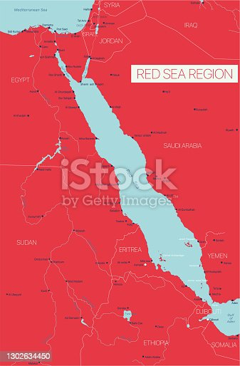 Red Sea region editable map