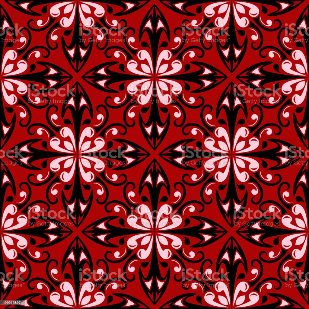 Röd sömlös bakgrund med svarta och vita designelement - Royaltyfri Abstrakt vektorgrafik