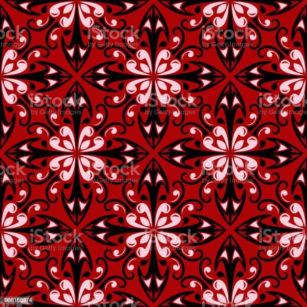 Röd Sömlös Bakgrund Med Svarta Och Vita Designelement-vektorgrafik och fler bilder på Abstrakt