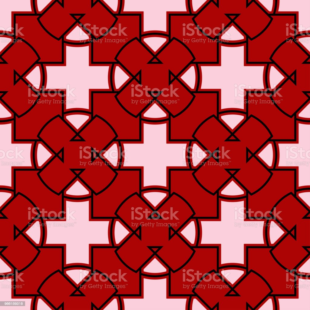 Red seamless background with black and white geometric pattern - Royalty-free Abstract stock vector