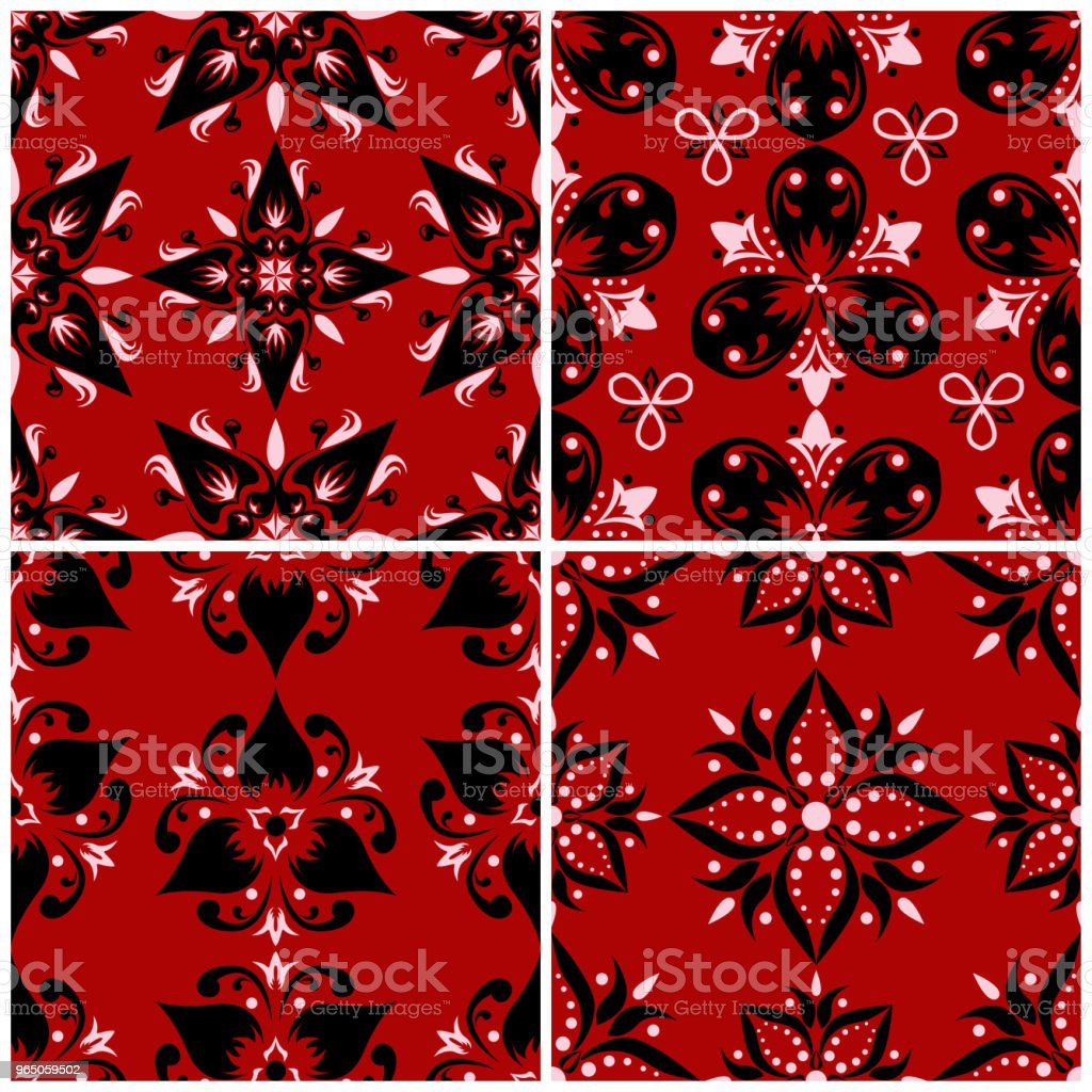 Red seamless backgrounds with black and white floral patterns royalty-free red seamless backgrounds with black and white floral patterns stock vector art & more images of abstract