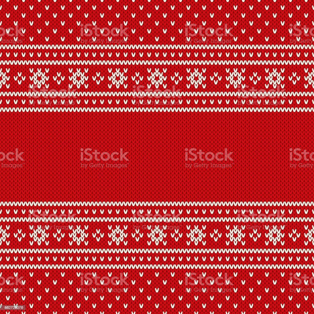 Red Seamless Knitted Pattern. Christmas and New Year Design Background with a Place for Text. Wool Knitting Texture Imitation vector art illustration