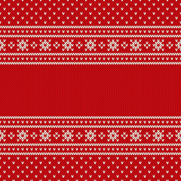 赤シームレス ニット パターン。クリスマスと新年デザイン背景テキストのための場所。ウール ニット テクスチャ模倣 - 編む点のイラスト素材/クリップアート素材/マンガ素材/アイコン素材