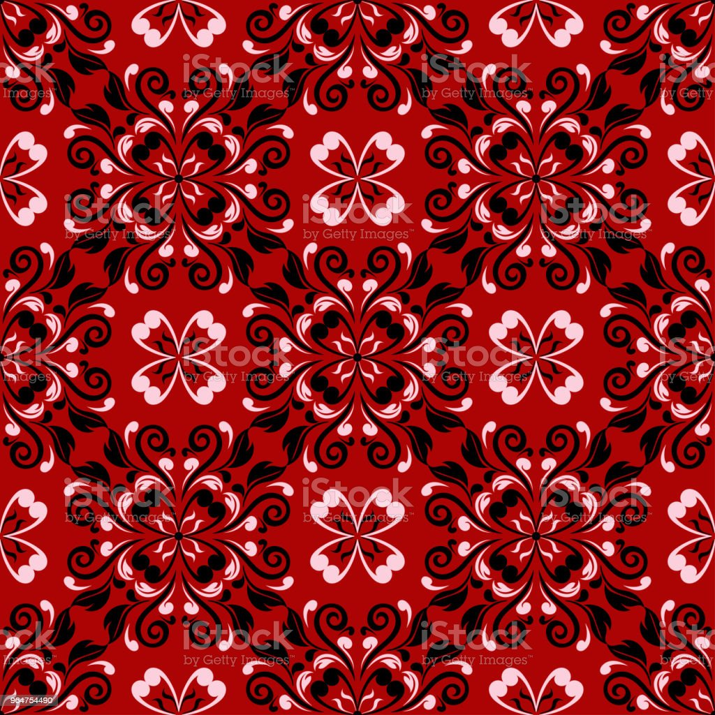 Red seamless pattern with black and white floral design royalty-free red seamless pattern with black and white floral design stock vector art & more images of abstract