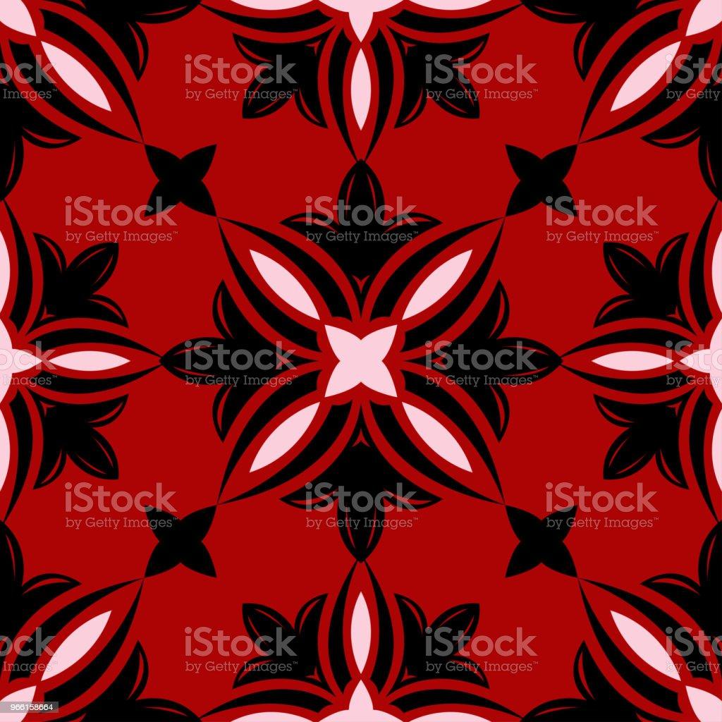 Rode naadloze patroon met zwart-wit bloemmotief - Royalty-free Abstract vectorkunst