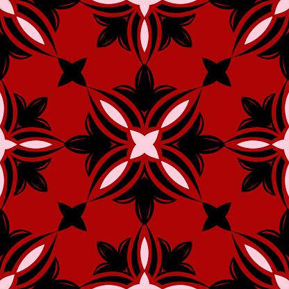 Rode Naadloze Patroon Met Zwartwit Bloemmotief Stockvectorkunst en meer beelden van Abstract
