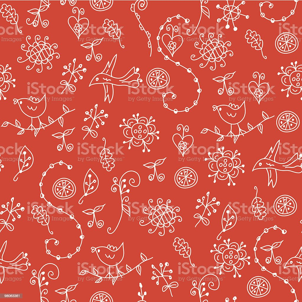 Red seamless pattern with graphic flowers, birds and symbols royalty-free red seamless pattern with graphic flowers birds and symbols stock vector art & more images of backgrounds