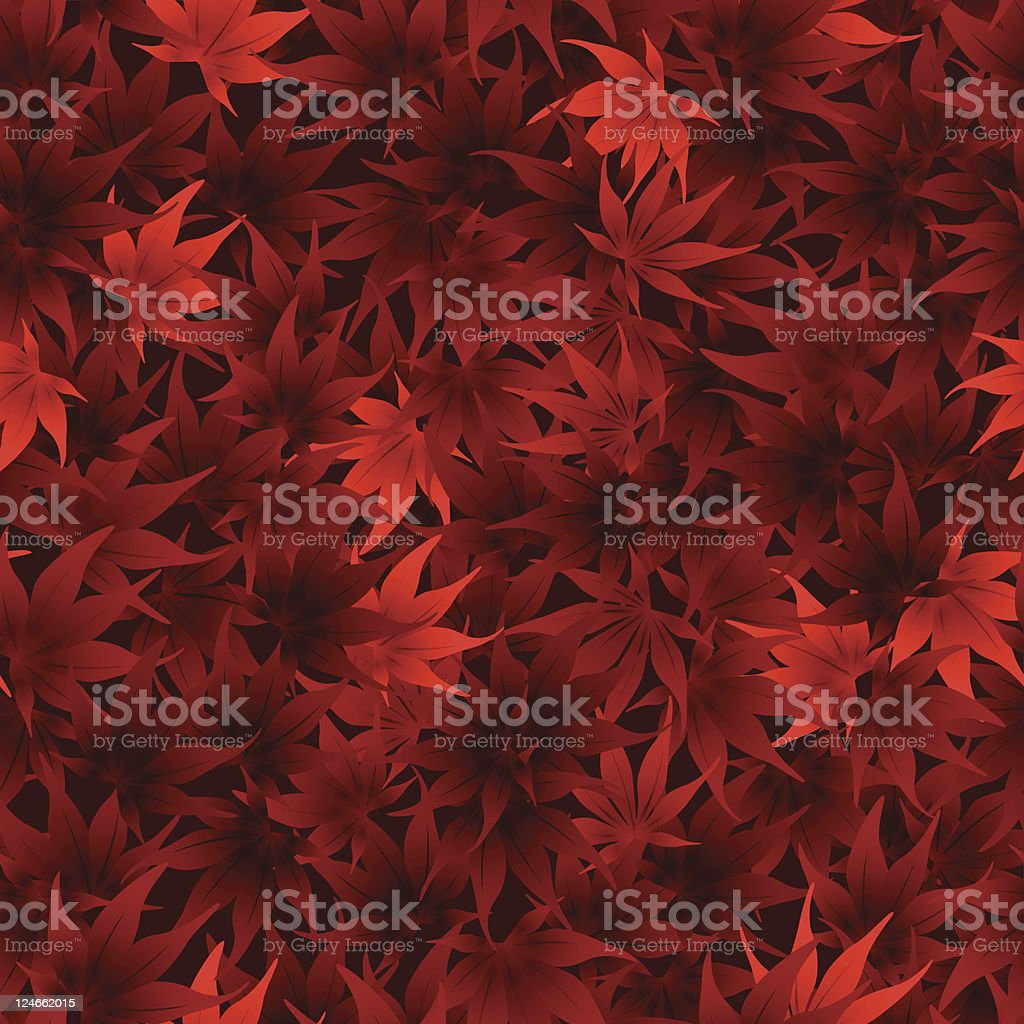 A red seamless scattered maple leaves pattern background royalty-free stock vector art