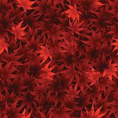 A red seamless scattered maple leaves pattern background
