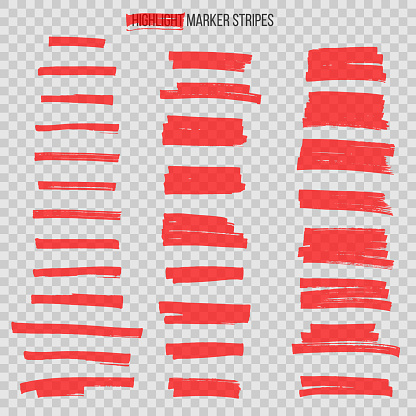 Red semitransparent highlight marker stripes isolated on transparent background. Vector design elements.