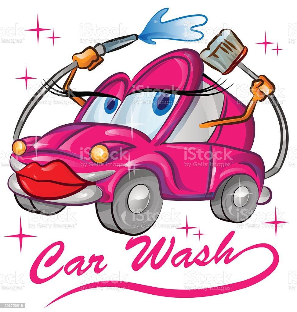 red sexy car wash cartoon vector art illustration