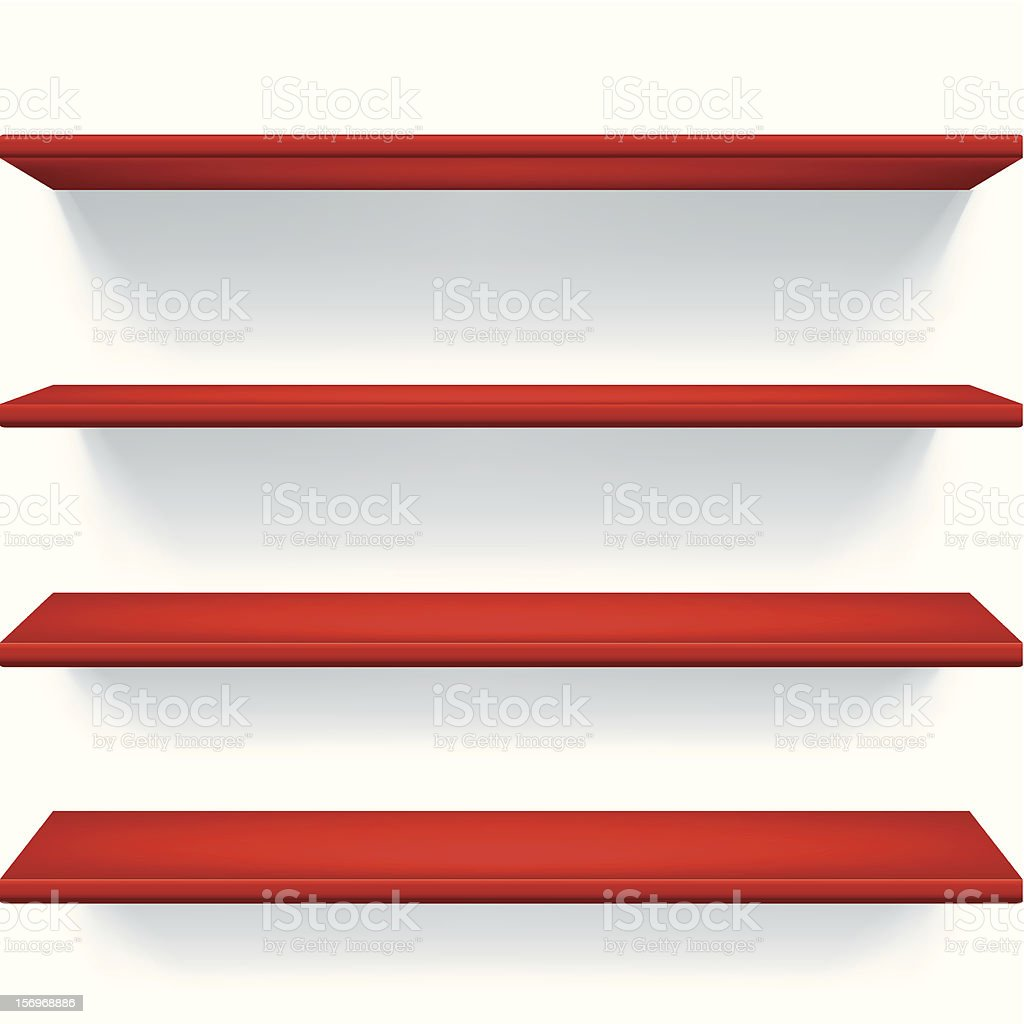 Red shelves royalty-free stock vector art