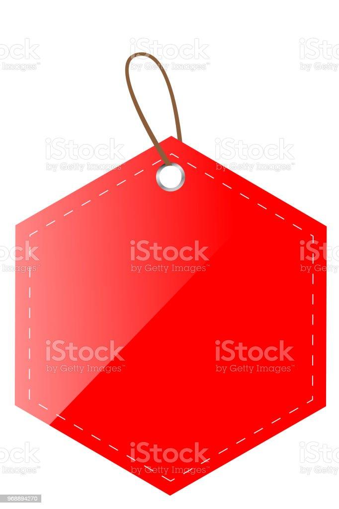 red shine hexagon blank tag vector art illustration