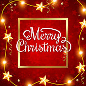Decorative red shining Christmas background with greeting inscription. Merry Christmas lettering.