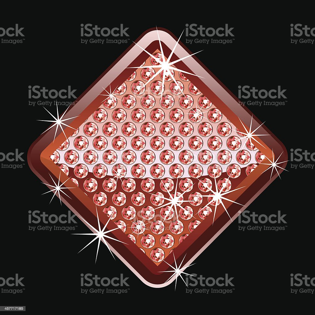Red shining diamond shape with diamonds royalty-free stock vector art