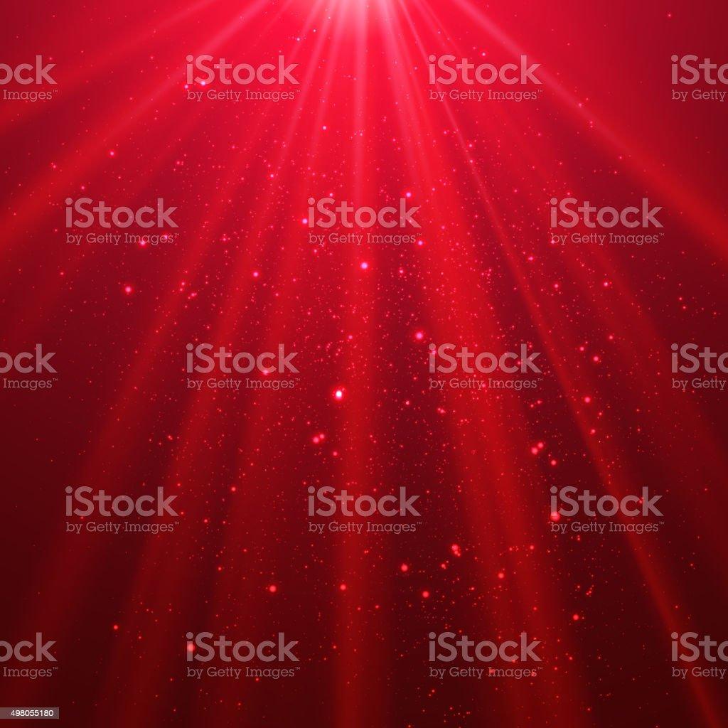 Red shining light top magic abstract vector art illustration