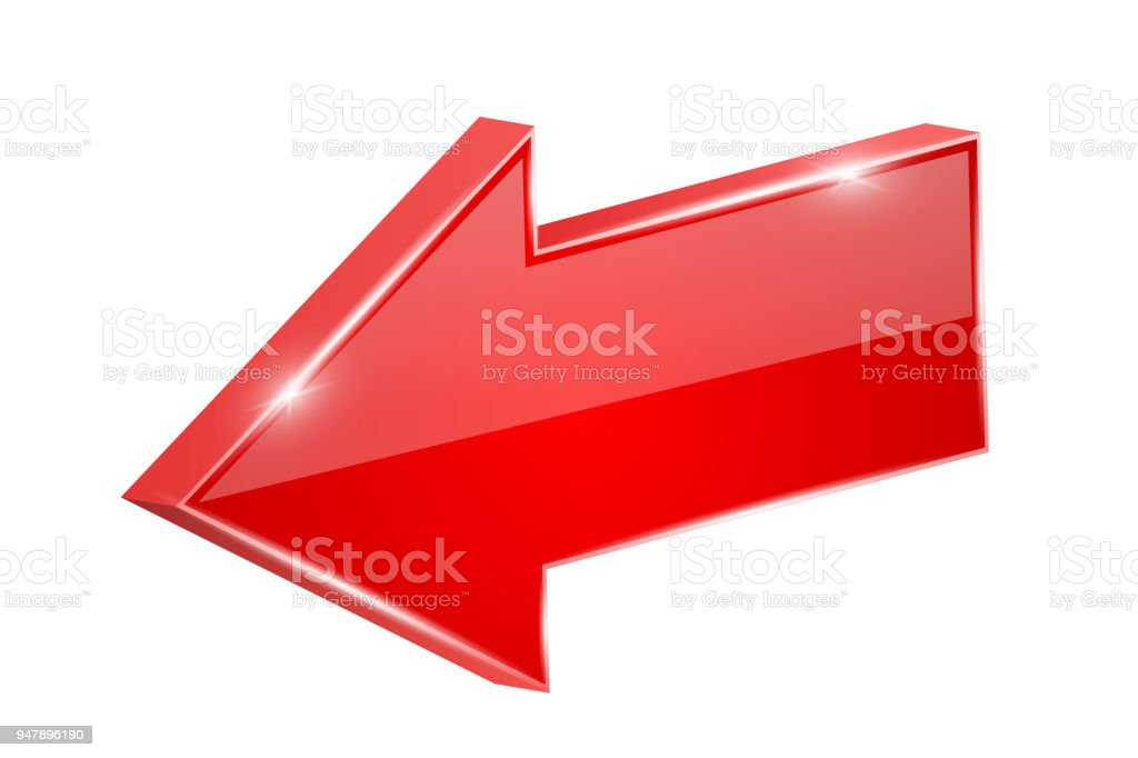 Red shiny arrow. Backwards. Vector 3d illustration