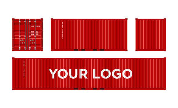 stockillustraties, clipart, cartoons en iconen met rode verzending van vracht container geïsoleerd op een witte achtergrond vector - vrachtcontainer