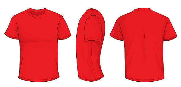 Red Shirt Template Vector illustration of blank red men t-shirt template, front, side and back design isolated on white red shirt stock illustrations