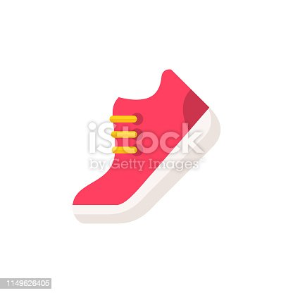 istock Red Shoe Flat Icon. Pixel Perfect. For Mobile and Web. 1149626405