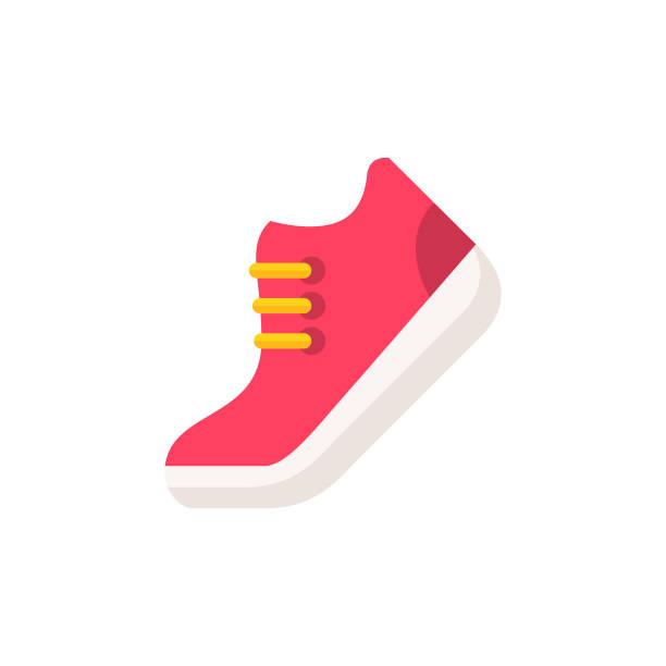 czerwona ikona płaskiego buta. pixel perfect. dla urządzeń mobilnych i sieci web. - but sportowy stock illustrations