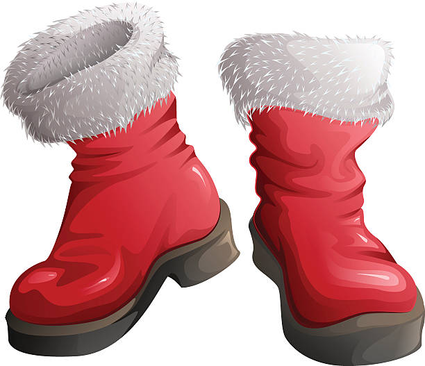 red shoes santa claus. christmas clothing accessories - nikolaus stiefel stock-grafiken, -clipart, -cartoons und -symbole