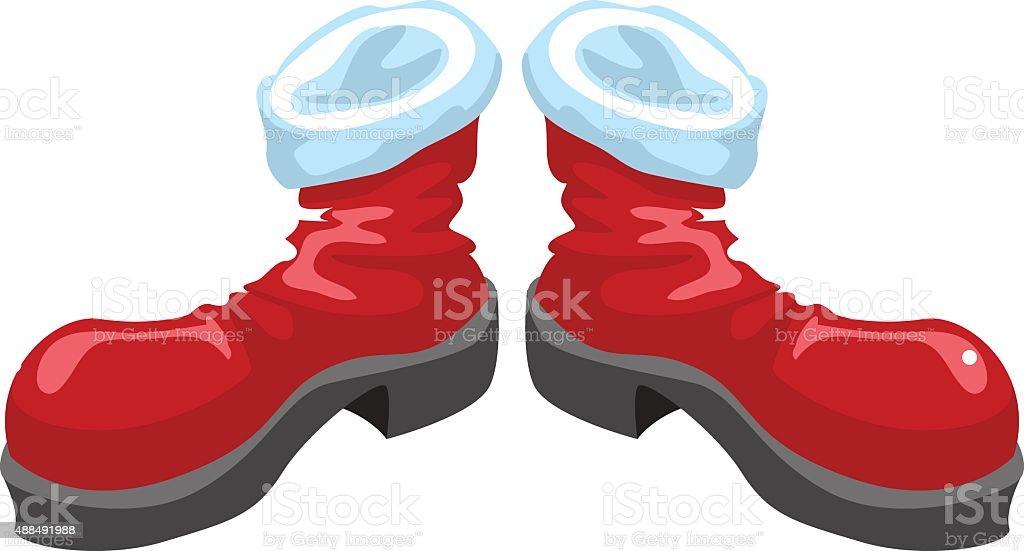 Red shoes santa vector art illustration