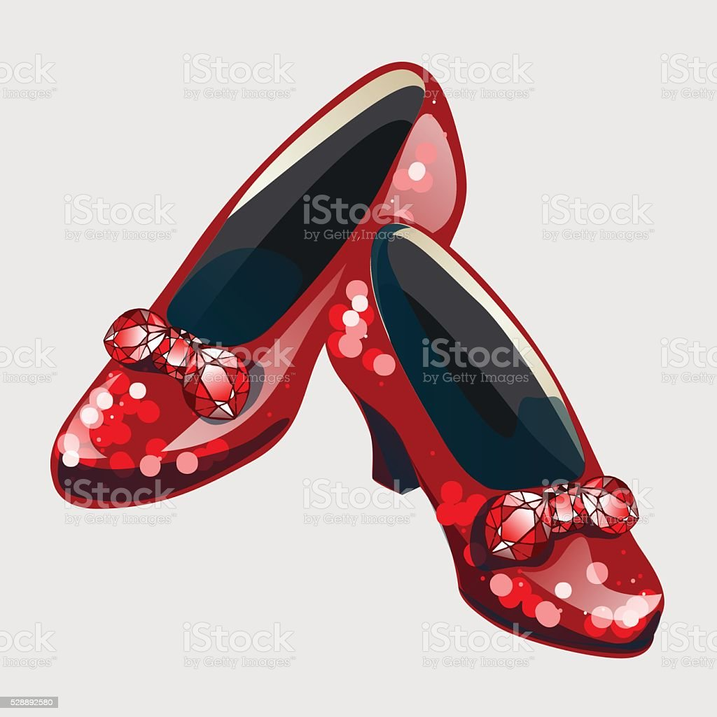 Red shoes with bow made from rubies