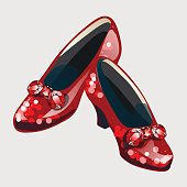 Red shoes with bow made from rubies. Stylish womens shoes